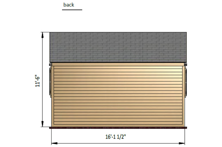 10x16 gable garden shed back side preview
