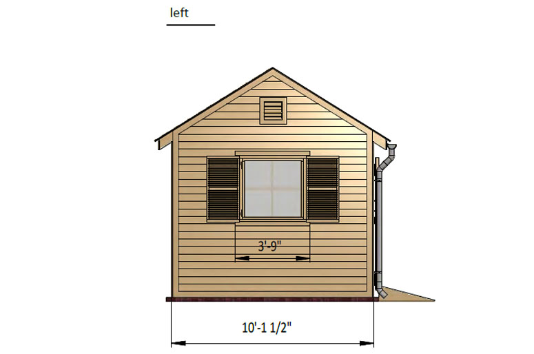 10x16 gable garden shed left side preview