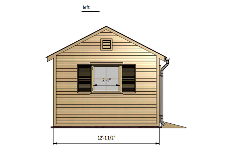12x12 garden shed left side preview