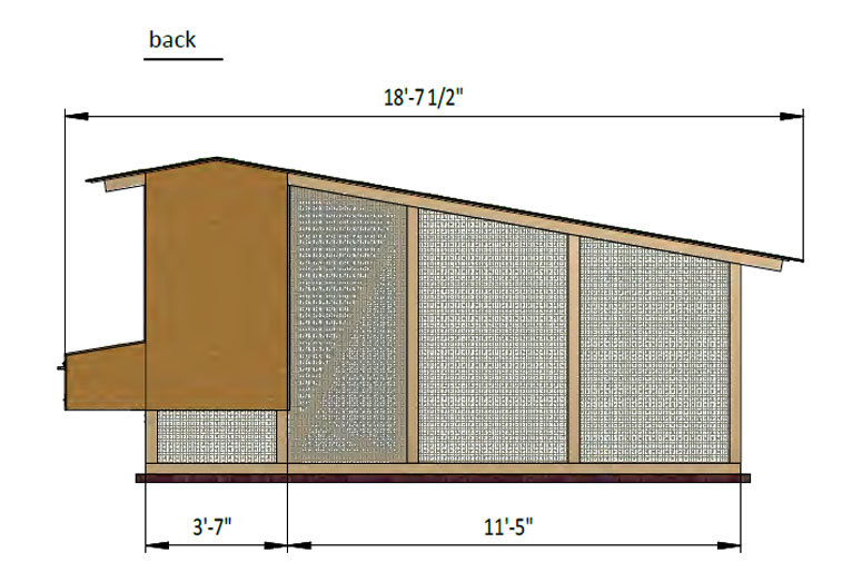17x6 walk in chicken coop back side preview