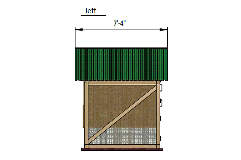 17x6 walk in chicken coop left side preview