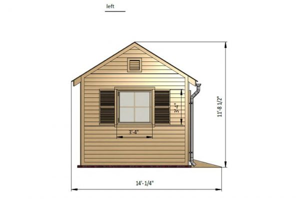 10x10 gable garden shed left side preview