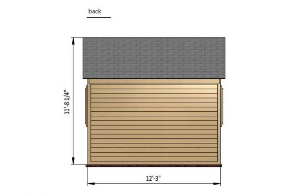 10x10 gable garden shed back side preview
