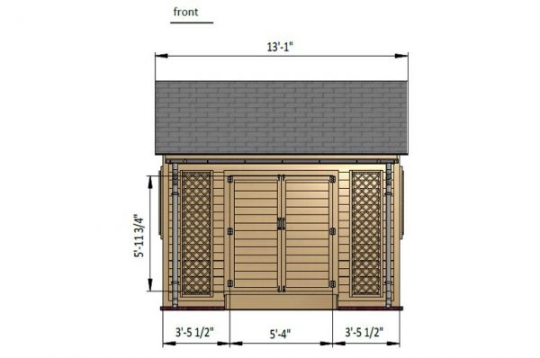 10x10 gable garden shed front side preview