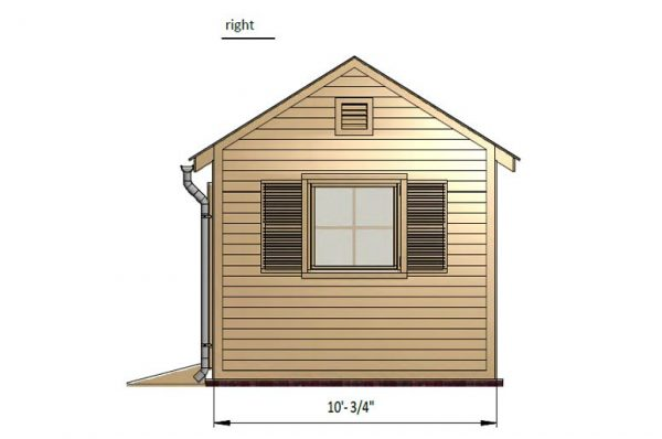 10x10 gable garden shed right side preview