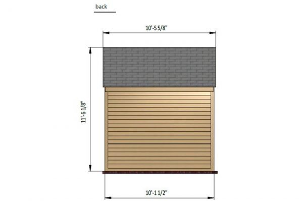 10x10 gable storage shed back side preview