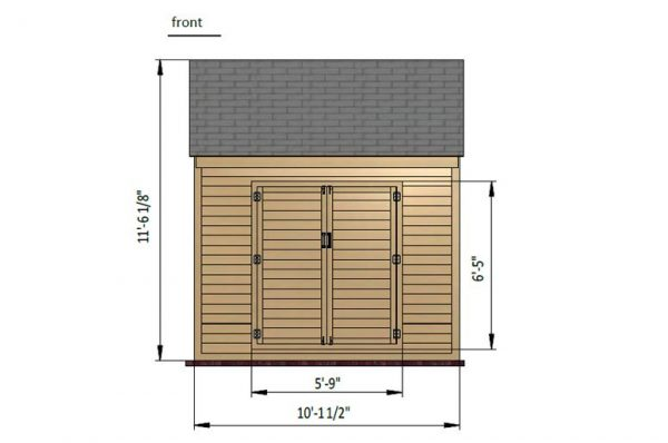 10x10 gable storage shed front side preview