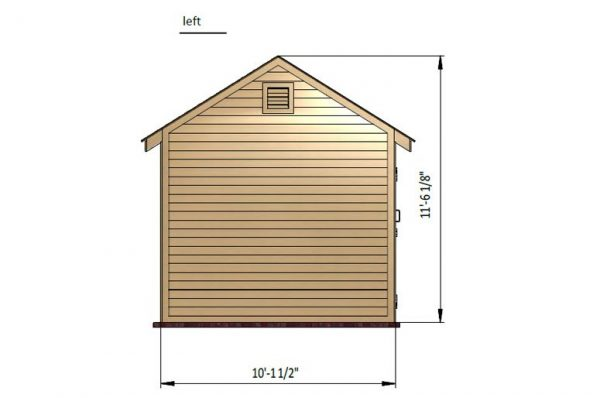 10x10 gable storage shed left side preview
