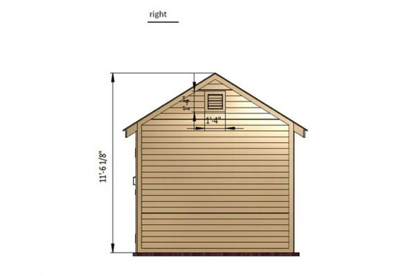 10x10 gable storage shed right side preview