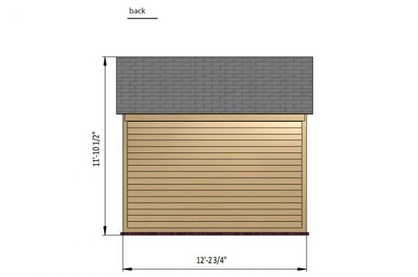 10x12 gable storage shed back side preview