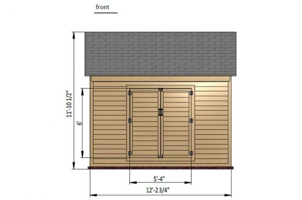 10x12 gable storage shed front side preview