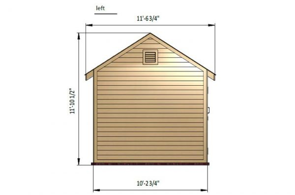 10x12 gable storage shed left side preview