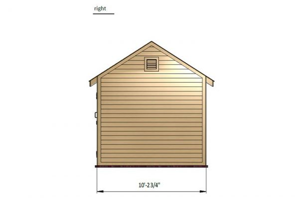 10x12 gable storage shed right side preview