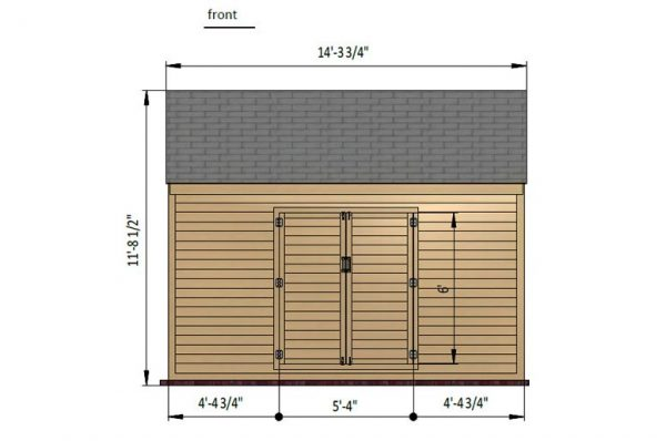 10x14 gable storage shed front side preview