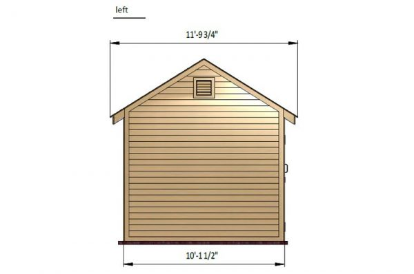 10x14 gable storage shed left side preview