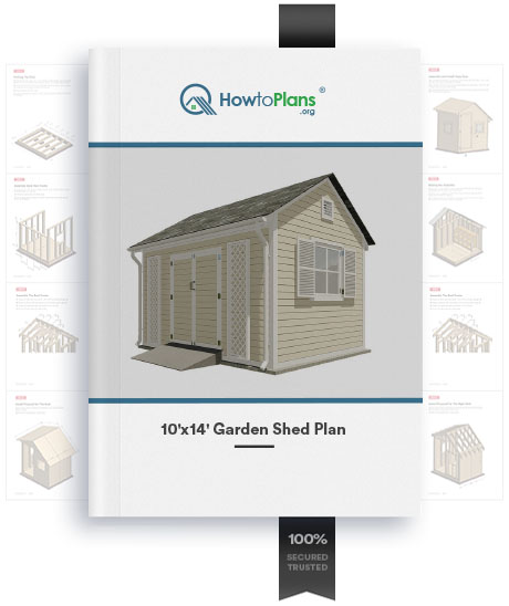 10x14 gable garden shed plan product