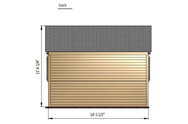 10x14 gable storage shed back side preview