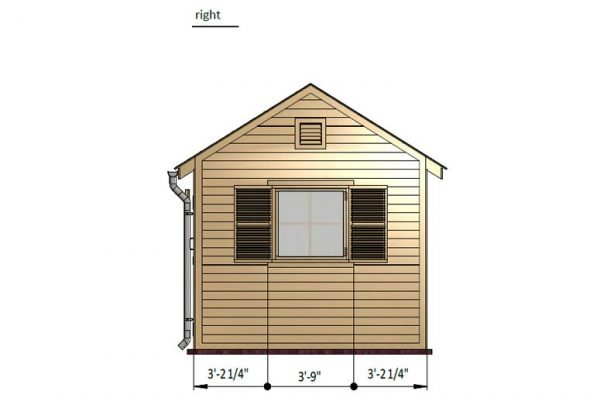 10x14 gable storage shed right side preview