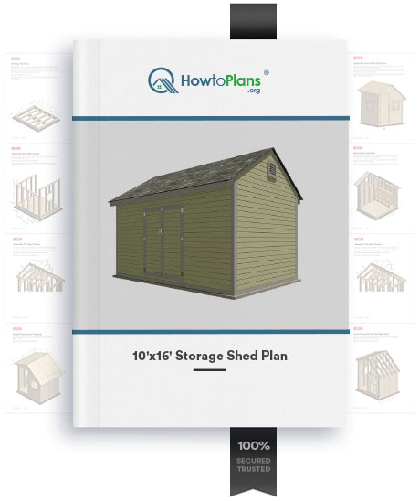 10x16 gable storage shed plan product
