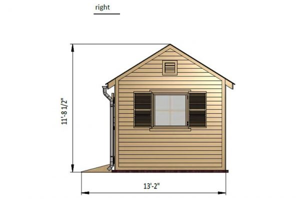 10x16 gable garden shed right side preview
