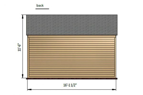 10x16 gable storage shed back side preview