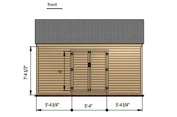 10x16 gable storage shed front side preview
