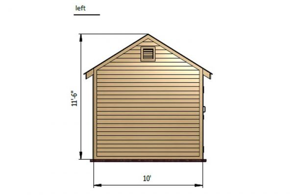 10x16 gable storage shed left side preview