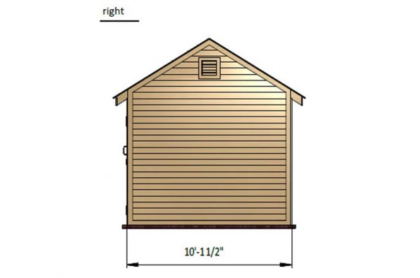 10x16 gable storage shed right side preview