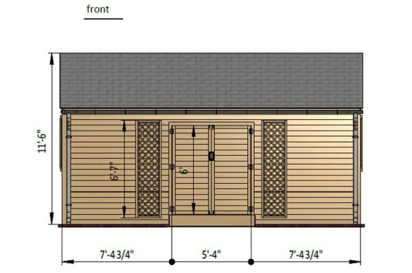 10x20 gable garden shed front side preview