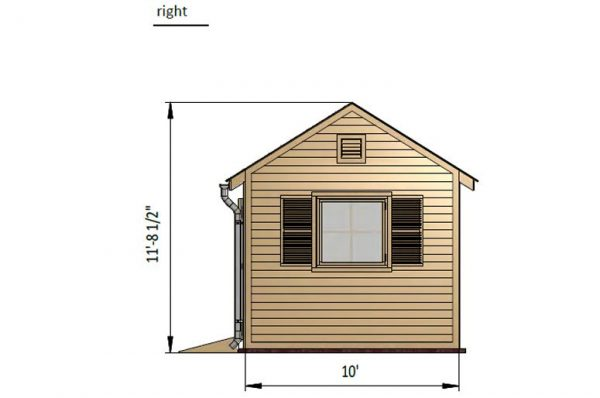 10x20 gable garden shed right side preview