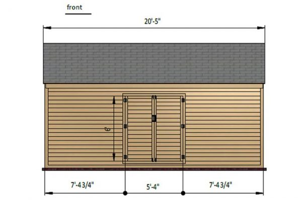 10x20 gable storage shed front side preview