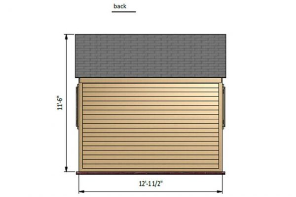 12x12 gable garden shed back side preview