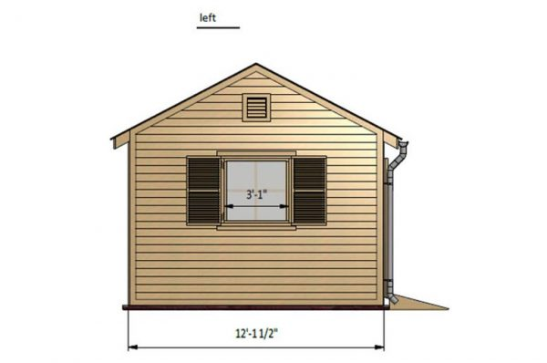 12x12 gable garden shed left side preview