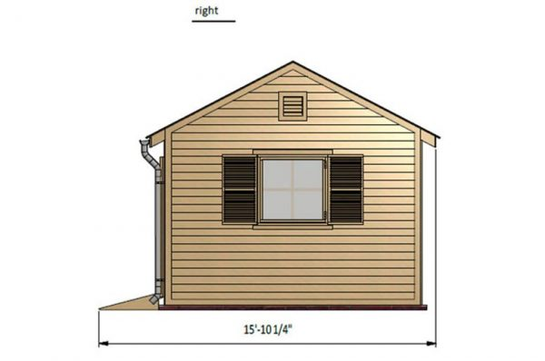 12x12 gable garden shed right side preview