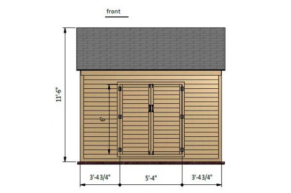 12x12 gable storage shed front side preview