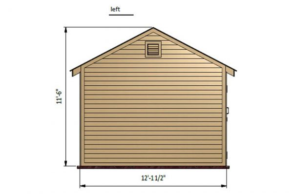 12x12 gable storage shed left side preview