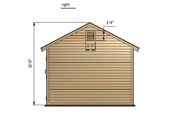 12x12 gable storage shed right side preview
