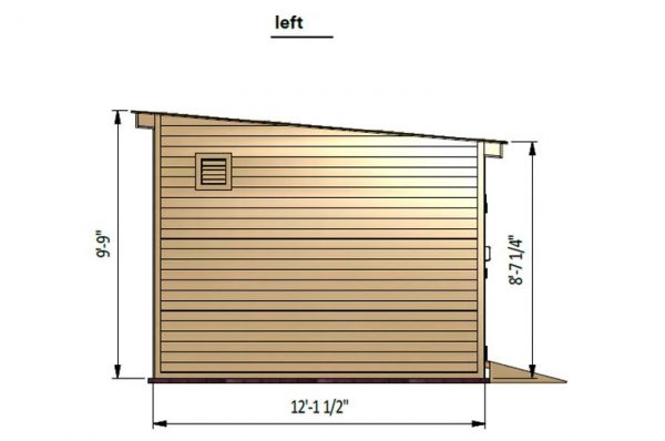 12x14 lean to storage shed left side preview