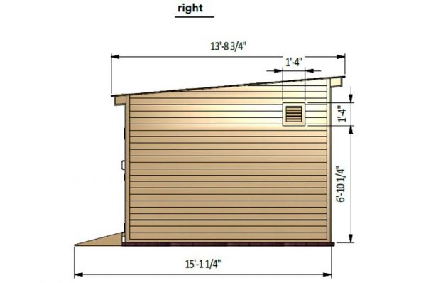 12x14 lean to storage shed-right-side preview