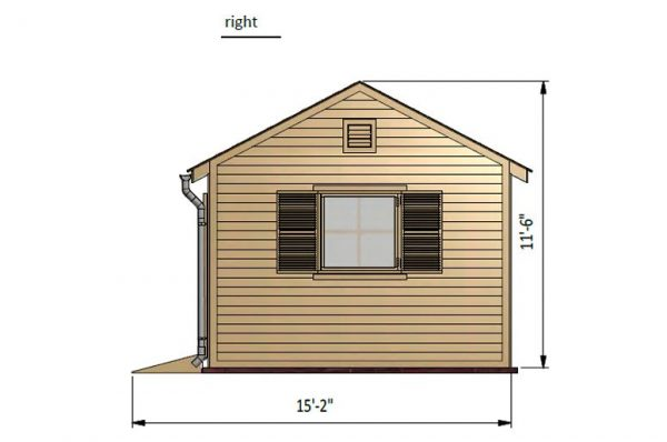 12x16 gable garden shed right side preview
