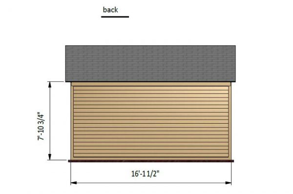 12x16 gable storage shed back side preview