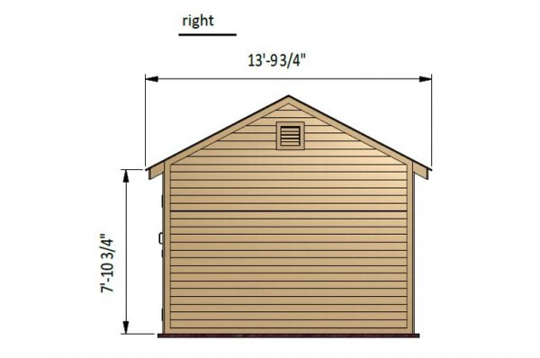 12x16 gable storage shed right side preview