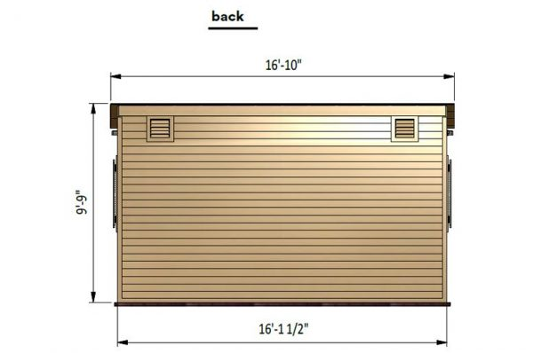 12x16 lean to garden shed back side preview