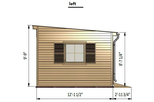 12x16 lean to garden shed left side preview
