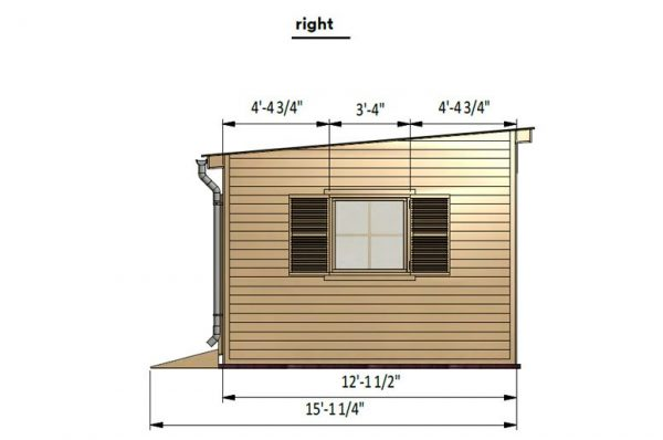12x16 lean to garden shed right side preview