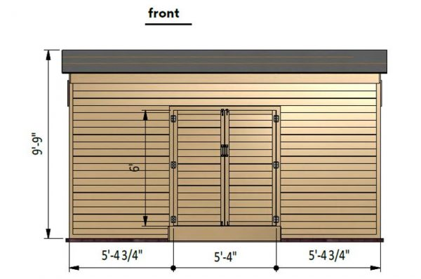 12x16 lean to storage shed front side preview