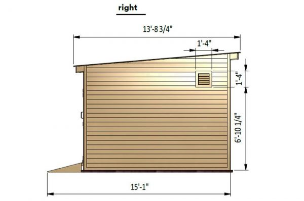 12x16 lean to storage shed right side preview