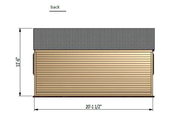 12x20 gable garden shed back side preview