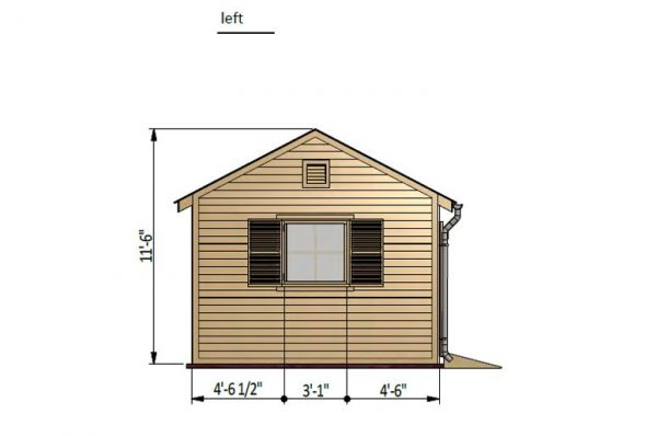 12x20 gable garden shed left side preview