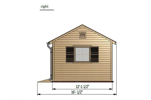12x20 gable garden shed right side preview